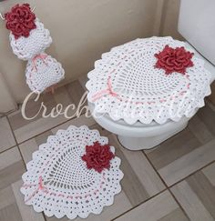 Bath Crochet Patterns Part 10 - Beautiful Crochet Patterns And Knitting Patterns - Diy Crafts - DIY & Crafts Free Crochet Doily Patterns, Crochet Diagram, Crochet Doilies, Knit Crochet, Crochet Hats, Bathroom Crafts, Bathroom Sets, Diy Home Crafts, Yarn Crafts