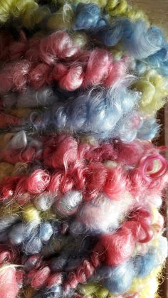 Corespun pastels hand dyed, home grown mohair from George! Corespun hand dyed pastels creating a huge 50 yard, 440g skein. #etsy #ACookleyyarn