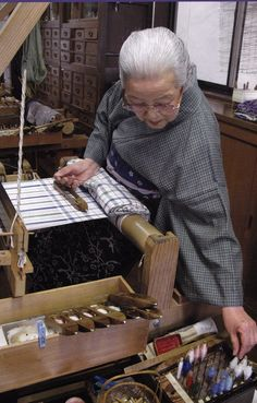 Shimura Fukumi - Weaver, Writer, Designer, Dyer and Teacher In 1990 she was designated a Living National Treasure of Japan for her Tsumugi (kimono) plant-dyed silk fabrics.