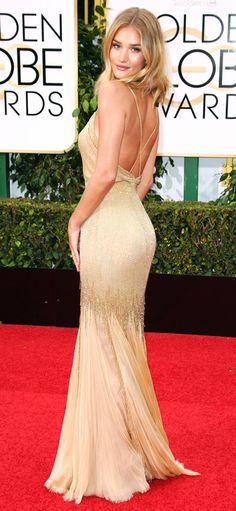 Golden Globes 2016: Better From the Back   People - Rosie Huntington-Whiteley's backless gold Atelier Versace dress