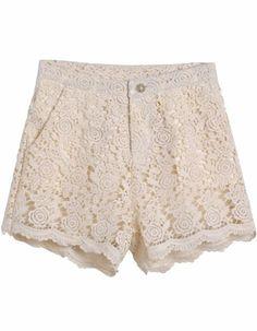 white lace crochet high waist shorts