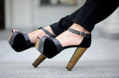 black wooden heels