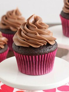 Tracey's Devil's Food Cupcakes with Nutella Buttercream