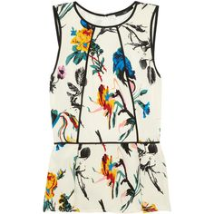 Tibi Floral-print silk crepe de chine peplum top ($300) ❤ liked on Polyvore