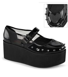 """Two Inch and 3/4""""(7cm) platform mary jane with heart cutout design and spikes…"""