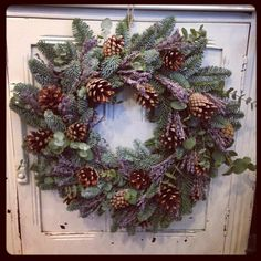 Christmas Wreath with eucalyptus, lavender and cones