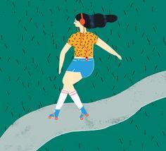 Naomi Wilkinson Illustration (Roller girl #rollergirl #rollerskates...)