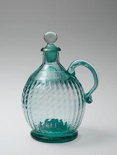 "Cruet 1815-1845. Midwest, Ohio, US.  Blown, pattern-molded glass. 6 7/8"" tall.  MET MUSEUM"