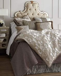 Dian Austin Couture Home King Pure Pewter Medallion Duvet Cover Queen Pure Pewter Dust Skirt Pure Pewter European Sham with Eyelash Center Silk Sides Cording Luxury Bedding Collections, Luxury Bedding Sets, Hooker Furniture, Bed Sets, Greige, Diy Bed, Headboards For Beds, Linen Bedding, Bed Linens