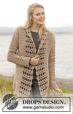"""""""Nepal"""" jacket pattern by DROPS Design Gilet Crochet, Crochet Coat, Crochet Cardigan Pattern, Crochet Jacket, Crochet Shawl, Crochet Clothes, Crochet Vests, Crochet Sweaters, Lace Jacket"""