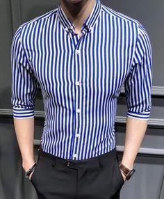 Men's shirt 2018 New summer men casual Short sleeve shirt Korean Slimliligla – Fashionable Men Mens Half Sleeve, Half Sleeve Shirts, Shirt Sleeves, Blue Shirt Outfit Men, Casual Shirts For Men, Men Casual, Smart Casual, Casual Chic, Gents Shirts