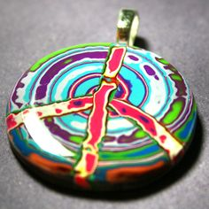 Retro Peace Pendant with Turquoise Swirl by purplecactusstudios