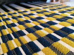 turquoise and piccalilli extra wefty blocks in silk and wool #handweave #woven #handwoven #textile #fabric #wool #silk #retrofabric #stripe #repeat