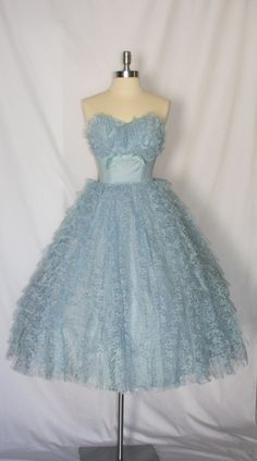 Vintage 1950's Dress Strapless Sweetheart Shelf Bust Tiered Blue Lace Prom Party Frock