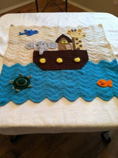 Made to Order Boy or Girl Noah's Arc Ark Baby Afghan Blanket Crochet Crocheted Handmade New Unique