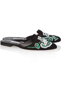 Oscar De La Renta Spanish Mule Embellished Canvas And Leather Slippers in Black
