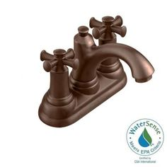 American Standard Portsmouth Single Hole 2-Handle Mid-Arc Bathroom Faucet in Oil Rubbed Bronze with Cross Handles and Speed Connect Drain - 7415.221.224 - The Home Depot