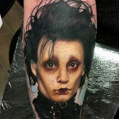 by Alex Wright at Grindhouse Tattoo Productions, UK. Movie Tattoos, Johnny Depp Movies, Fear And Loathing, The Lone Ranger, Edward Scissorhands, Skin Art, Tim Burton, Pop Culture, Halloween Face Makeup