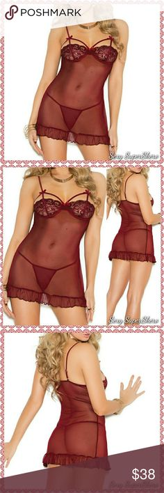 """🆕 """"Beautiful Burgundy"""" strappy lingerie babydoll Beautiful Burgundy Mesh babydoll with lace demi underwire cups, adjustable straps, satin bows and a ruffled hem. Matching g-string included! This color looks so nice on the skin!  Size(s): S,M,L ( see size chart pic above)  Color(s): Burgundy  Material(s): 95% Polyester, 5% Spandex  💰Bundle & Save 📦 Ships within ~48hrs Sexy SuperShero Intimates & Sleepwear Chemises & Slips"""