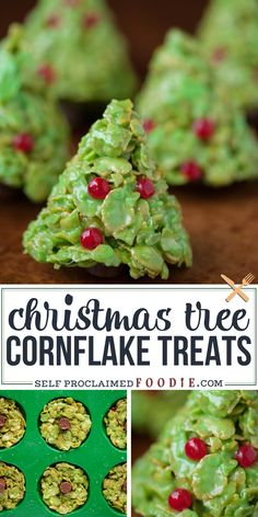 If you like Rice Krispie Treats, you'll love these holiday inspired Christmas Tree Corn Flake Treats, complete with decorations and a tootsie roll stump. #cornflake #christmas #marshmallow #tree #ricekrispietreat #dessert #recipe #easy #fun