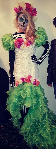 Sugar skull makeup costume teen tween Halloween beautiful girl kids