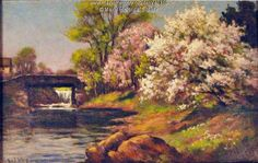 """Painting of Stroudwater, Portland, ca. 1929. Arthur Ward, an English etcher, painted the scene of the Stroudwater River. A newpaper report in 1928 noted that Ward was """"doing some delightful pen and ink sketches in and around Portland..."""" Item # 40310 on Maine Memory Network"""