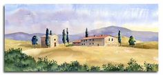 Original watercolour paintings of Tuscany and Florence by English watercolour artist Lesley Olver, Maidenhead, UK Watercolor Pictures, Easy Watercolor, Watercolor Artists, Watercolor Wedding, Watercolor Landscape, Watercolour Paintings, Italy Painting, Florence Italy, Easy Paintings