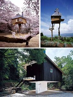 Japanese Architect: Terunobu Fujimori, An Original - Japanese Architecture Modern Japanese Architecture, Cedar Cladding, Inside Outside, Tree Houses, Modern Buildings, Tiny Living, Tiny Homes, Amazing Places, The Good Place