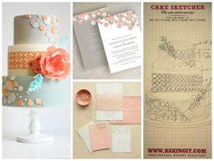 Peach and Grey Polkadot Wedding Cake Sketchers, Rsvp, Wedding Cakes, Bakery, Polka Dots, Peach, Place Card Holders, Creative, Inspiration