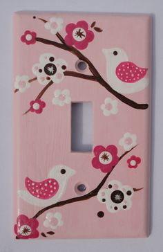 Custom hand painted switch plate cover - Migi baby blossom - pink and brown birds. $18.00, via Etsy.