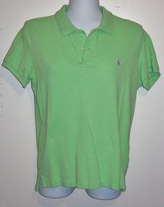 Women's Ralph Lauren Skinny Polo Shirt Green Solid Size Large Lavendar Pony EUC #RalphLauren #PoloShirt
