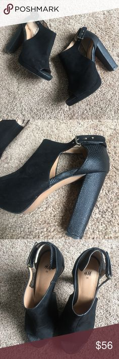 "H&M high heels Only worn once, in great condition! Size 7.. 4"" heel. Suede material. Very chic and classy. Look great with a pair of leather skinny pants and a black sheer blouse. H&M Shoes Heels"