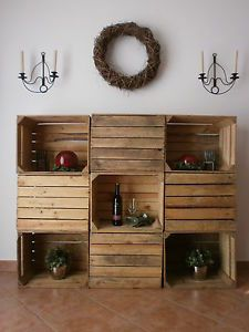 alte rustikale geflammte apfelkisten obstkisten holzkisten weinkisten regal h o m e h o. Black Bedroom Furniture Sets. Home Design Ideas