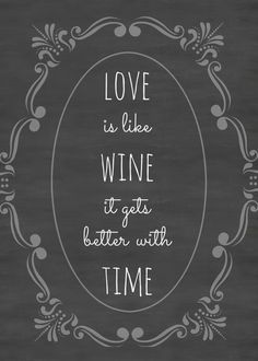 chalkboard print and quote, free printables on blog, love is like wine, it gets better with time, wine quotes. Popular with the Poplins