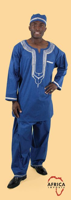 Mens African Shirt and Pants Set - Comfortable yet classy African shirt and pant set.  This set comes with pants, a shirt, and a hat.  Celebrate Black History Month with this comfortable African suit.  Choose from blue, white, yellow, red, and purple.  #africa #african #mensfashion #menswear #mensstyle
