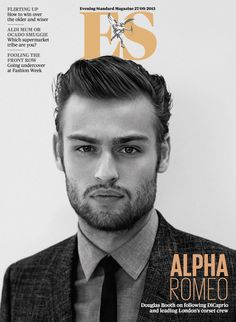 British actor Douglas Booth wearing Burberry tailoring on the cover of ES Magazine