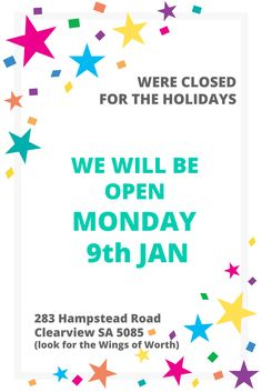 were closed for the holidays, we will be open monday Jan. Womens Worth, Foundation, Holidays, Organization, Holidays Events, Holiday, Foundation Series, Vacation, Annual Leave