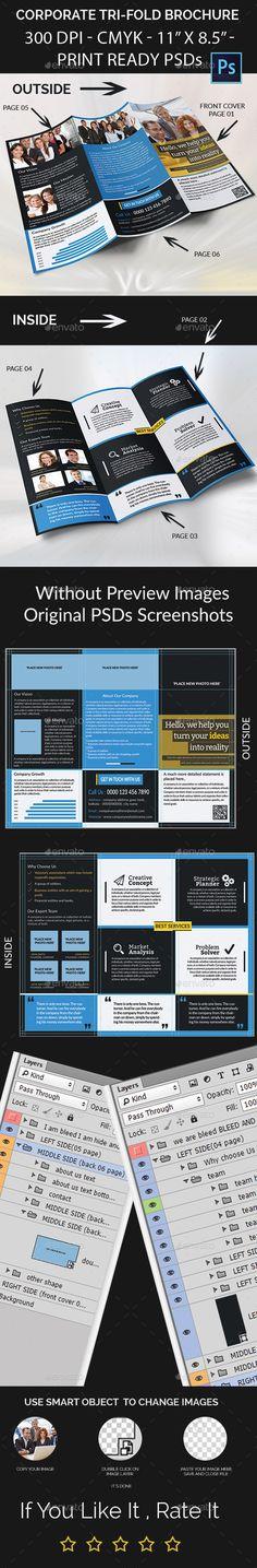 Corporate Tri-Fold Brochure - Corporate Brochure Template PSD. Download here: http://graphicriver.net/item/corporate-trifold-brochure/11947596?s_rank=1739&ref=yinkira