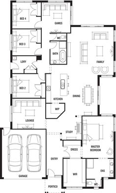 House Design: Dakar - Porter Davis Homes - would remove WIP so you can see kitchen on entry Bedroom House Plans, Dream House Plans, Small House Plans, House Floor Plans, My Dream Home, Pool House Designs, New Home Designs, Home Design Floor Plans, Plan Design
