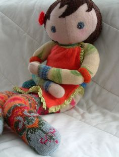 waldorf doll made from felted sweaters