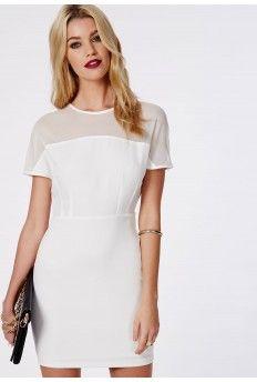 Madeleine Mesh Cap Sleeve Bodycon Dress White