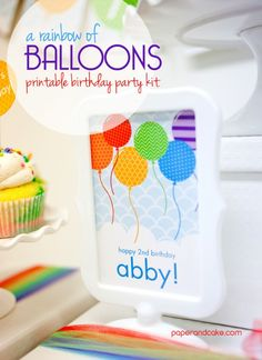 Paper and Cake | Balloon Printable Birthday Kit: Abby turns 2! | http://www.paperandcake.com