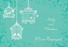 Melody Engagement Invitation Card in Sea Green - Wedding Invitations