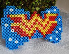 Wonder Woman Perler Bead Bow