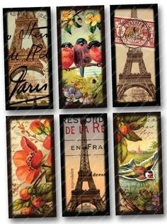 Printable collage sheet made from dozens of different souvenir postcards and photographs of the Eiffel Tower circa 1889, high quality scans of flowers and birds, hot air balloon engravings, a vintage ticket, love letters from the 1700s, and images from a Parisian 1850s book that has the most amazing engravings, by piddix.