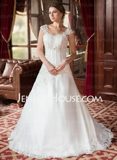 Wedding Dresses - $218.99 - A-Line/Princess Square Neckline Court Train Satin Tulle Wedding Dress With Ruffle Lace Beadwork (002000152) http://jenjenhouse.com/A-Line-Princess-Square-Neckline-Court-Train-Satin-Tulle-Wedding-Dress-With-Ruffle-Lace-Beadwork-002000152-g152