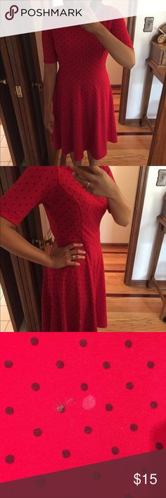 """Red Polka Dot Dress This dress is great for Christmas Day, Valentines Day, or really any holiday! More of a fit and flare feel. The size is a 6-8 from Lands End. I am 5'5"""" and it hits right below my knee. Lands' End Dresses"""