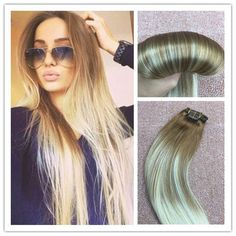 Ombre balayage highlight remy real clip in human hair extensions 7a full head balayage ombre clip in remy real human hair extensions blonde pmusecretfo Gallery