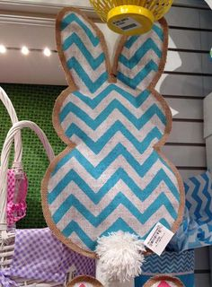 Burton & Burton Bunny Backs - perfect size for wreaths!  http://www.trendytree.com/burton-and-burton/burton-and-burton-burlap-chevron-easter-bunny-back-wall-hanging-assorted.html