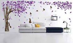 Large Tree with Rabbits Squirrel Birds Animals Purple and Light Purple Leaves Wall Stickers Living Room Background Decorative Art Paper Vinyl High Wide